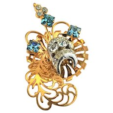 Beautiful Blue and Clear Rhinestone Scrollwork Gold tone and silver tone Brooch Pin Pendant