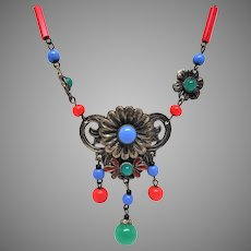 Art Deco Art Glass Bead Multi Color Glass and Enamel necklace with Daisy