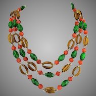 Amazing 1960s Hippy MOD West Germany 3 strand Necklace