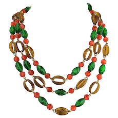 Amazing 1960s Hippy MOD West Germany 3 strand Necklace