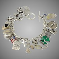 Vintage Sterling Silver Life Time Charm Bracelet Moveable Mechanical charms