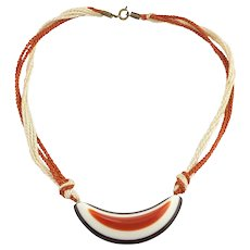 1970s Hippy Fun Plastic Orange Brown Cream Choker Necklace
