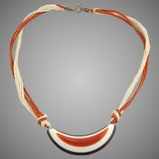 1970s Hippy Fun Plastic Orange Brown Cream Choker Necklace