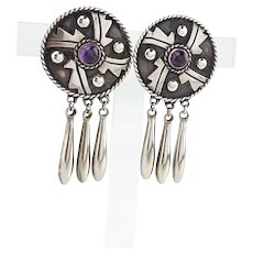 Damasco Gallegos Taxco Mexican Sterling Silver Amethyst Fringe Screw Back Earrings