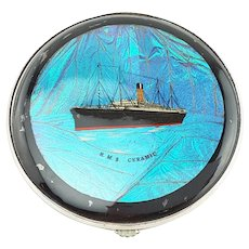 Gwenda made in England Butterfly Wing Morpho compact R.M.S. Ceramic