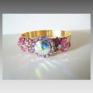 Show Stopper Gorgeous Pink Rivoli and Rhinestone Clamper Bracelet