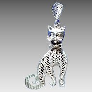 Amazing Sterling 3-D Kitty Cat Pendant