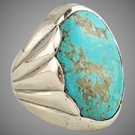 Bell Sterling Silver Turquoise Ring Size 8 Big Statement 17.6 grams