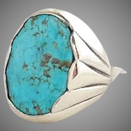 Signed Sterling Silver Turquoise Ring Size 12 Big Statement 19.5 grams
