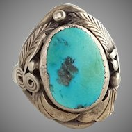 Vintage Navajo Sterling Silver Turquoise Ring Signed Size 10.25