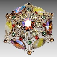 Stunning Juliana Scroll work brooch with Givre carved Glass Rhinestones