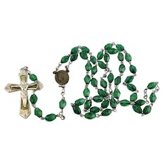 Green Crystal Rosary Mother Mary St Christopher