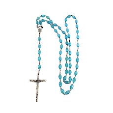 Aqua Blue Lucite Rosary Mother Mary