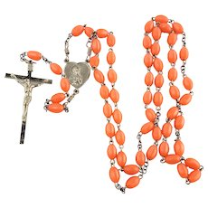 Rosary  Orange Plastic Beads Jesus and Mother Mary