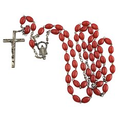 Rosary Red Plastic Beads Jesus ITALY