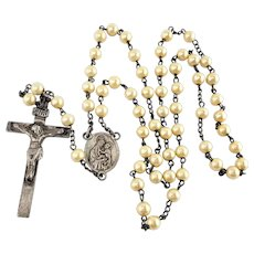 Sterling Faux Pearl Rosary Jesus