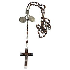 Two Charm Wood Rosary with Holy Water Pontifex Max 800 silver FRANCE