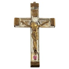 FRANCE Old Lucite and brass Crucifix pendant Rosary with Genuine Ruby Holy Water