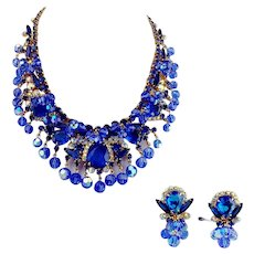 Rare D&E Juliana Bib Collar Dramatic  Dangles Book Piece Set Necklace Earring