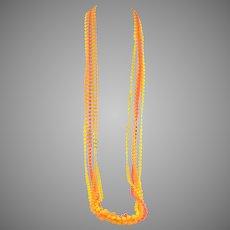 "1960s MOD Orange and Yellow 3 strand Opera Length Necklace 50"""