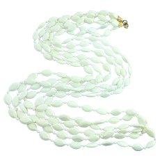 "1960s MOD Early Plastics White 3 Strand Opera Length Necklace 50"""