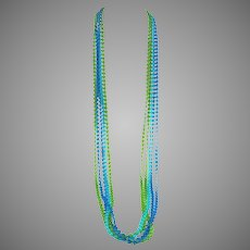 """1960s MOD Green Blue and Aqua 3 strand Opera Length Necklace 50"""""""
