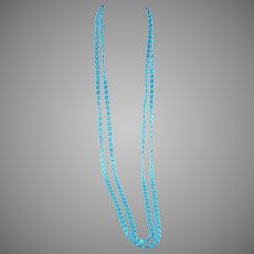 """1960s MOD Aqua Blue 2 strand Opera Length Necklace 55"""""""