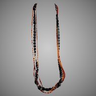 1960s MOD Black and Amber Color Early Plastics Opera Length Necklace 55""