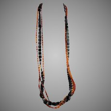 """1960s MOD Black and Amber Color Early Plastics Opera Length Necklace 55"""""""