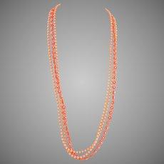 "1960s MOD daisy Necklace Peach and Orange 3 strand 31"""