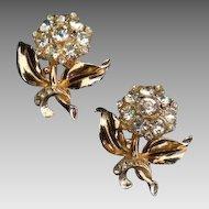 Coro Duet Rhinestone Flower Pins