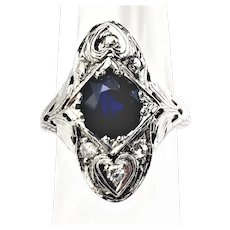 18K White Gold Natural Blue Sapphire and Diamond Art Deco Ring  Circa 1920's Size 6.75 Hearts