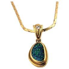 14K Amazing Australian Black Opal Diamond Pendant Necklace