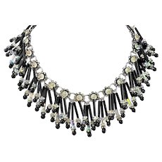 1940s All Glass Amazing Fringe RUNWAY necklace Black Clear