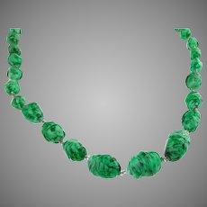 Vintage Art Deco Green Art Glass Bead Necklace Flapper
