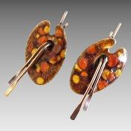 Renoir Matisse Copper Enamel Painters Pallet Earrings