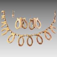Renoir Modernist script necklace earring set