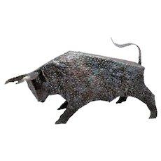 Modernist Metal Hand Wrought Raging Bull Artist Sculpture