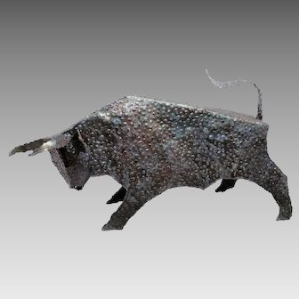 Modernist Metal Hand Wrought Raging Bull Artist Sculpture