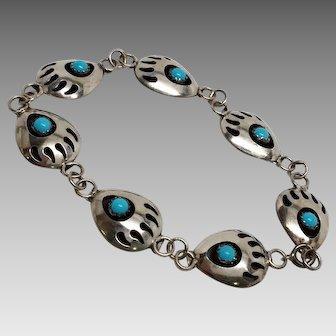 Vintage Sterling Turquoise Bear Paw Bracelet