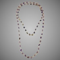 Two Natural Amethyst Stones Necklace Caged in gold tone