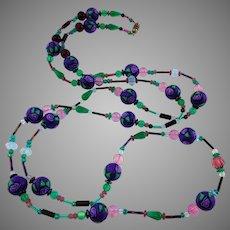Long Art Glass - blown glass - melon Glass - Hand Painted Beads Rose Necklace Purple green pink