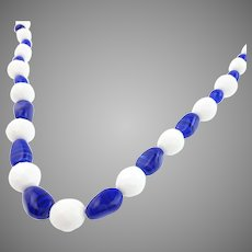 Beautiful Summer Blue and White Art Glass Necklace