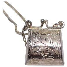 Fun Sterling Silver Shopping Bag  Purse Locket pendant
