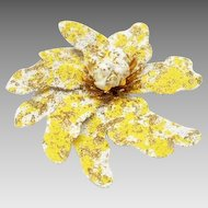 Signed Coro Textured Vintage Flower Brooch / Flower Power/ Spring yellow, gold, cream