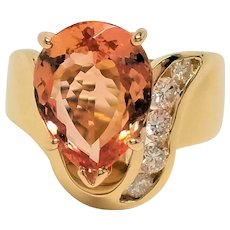 Vintage 14K Vivid Natural Peach Topaz Diamond Ring  Huge Statement Cocktail Birthstone