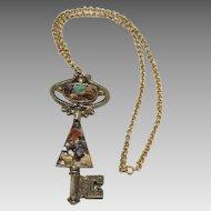 Amazing Huge Vintage Key Pendant with Semi Precious Stones