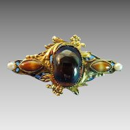 """Original by Robert""  banded Cat eye brooch"
