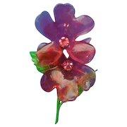 Flower Power LUCITE Enamel Double red flower w/ rhinestone