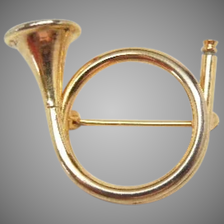 Classic music Round French Horn pin Brooch